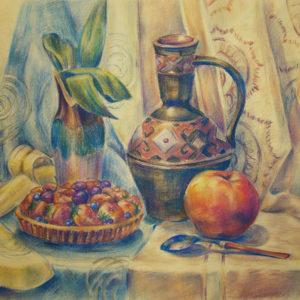 Натюрморт с яблоком. Пастельные карандаши, цветная бумага 60х40 см.