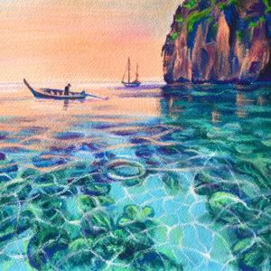 Острова Пхи-Пхи. Нарисовала всего лишь в два этапа (для меня нехарактерно) - так хочется на море, когда за окном осень! Формат А3, пастель Mungyo.