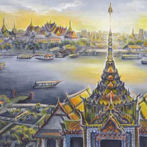 Бангкок. Основой композиции послужил вид с Ват Аруна на Чао Прайю и комплекс королевского дворца. Пастель, цветная бумага.