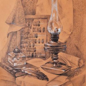 Лампа. Шариковая и гелевые ручки, цветная бумага 60х40 см.