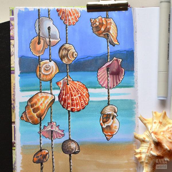 Иллюстрация Морские ракушки