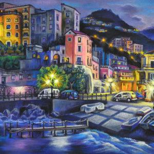 Минори. Амальфитанское побережье Италии. Пастель, цветная бумага.