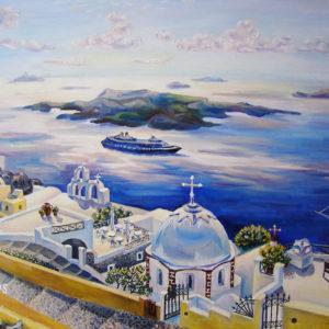 Санторини. Греческий остров Санторини – белоснежные города, парящие вровень с облаками. Масло, холст на подрамнике 50х40 см