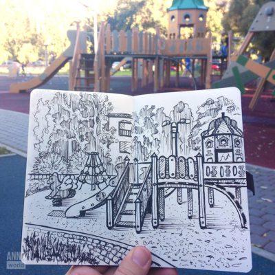 Пленэр: детская площадка во дворе