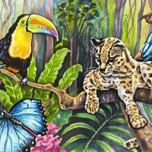 """Иллюстрация маркерами """"Тропические животные"""""""