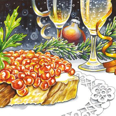 """Новогодняя открытка """"Икра"""""""