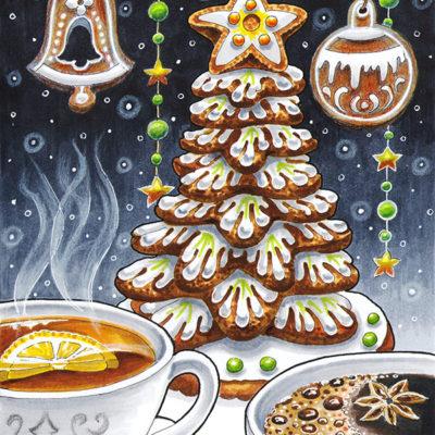 """Новогодняя открытка """"Пряничная елка"""""""