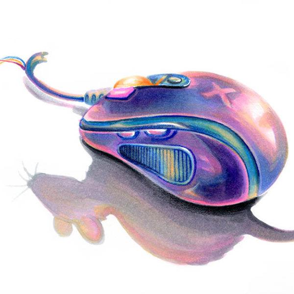 Мышь - иллюстрация маркерами