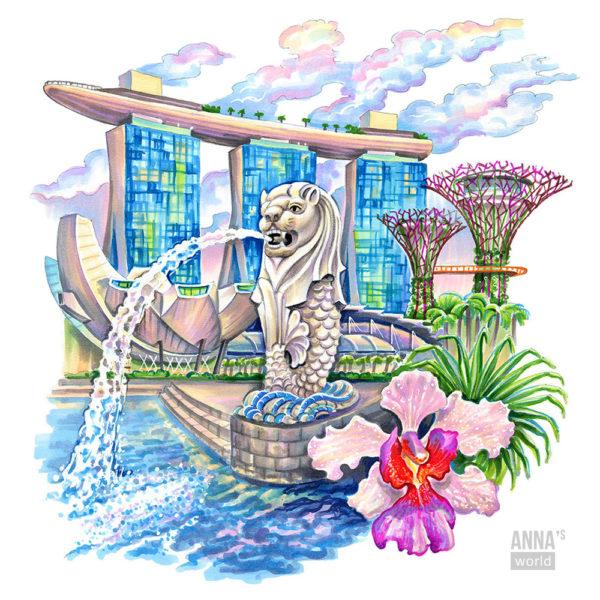 Иллюстрация для фестиваля Сингапура